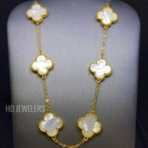 10 Double Sided Mother Of Pearl 18K Gold Necklace